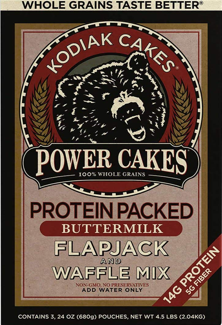 Kodiak Cakes Power Cakes Flapjack and Waffle Mix Whole Grain Buttermilk  Net Wt. 4.5 lbs (Three 24 Ounce Pouches)