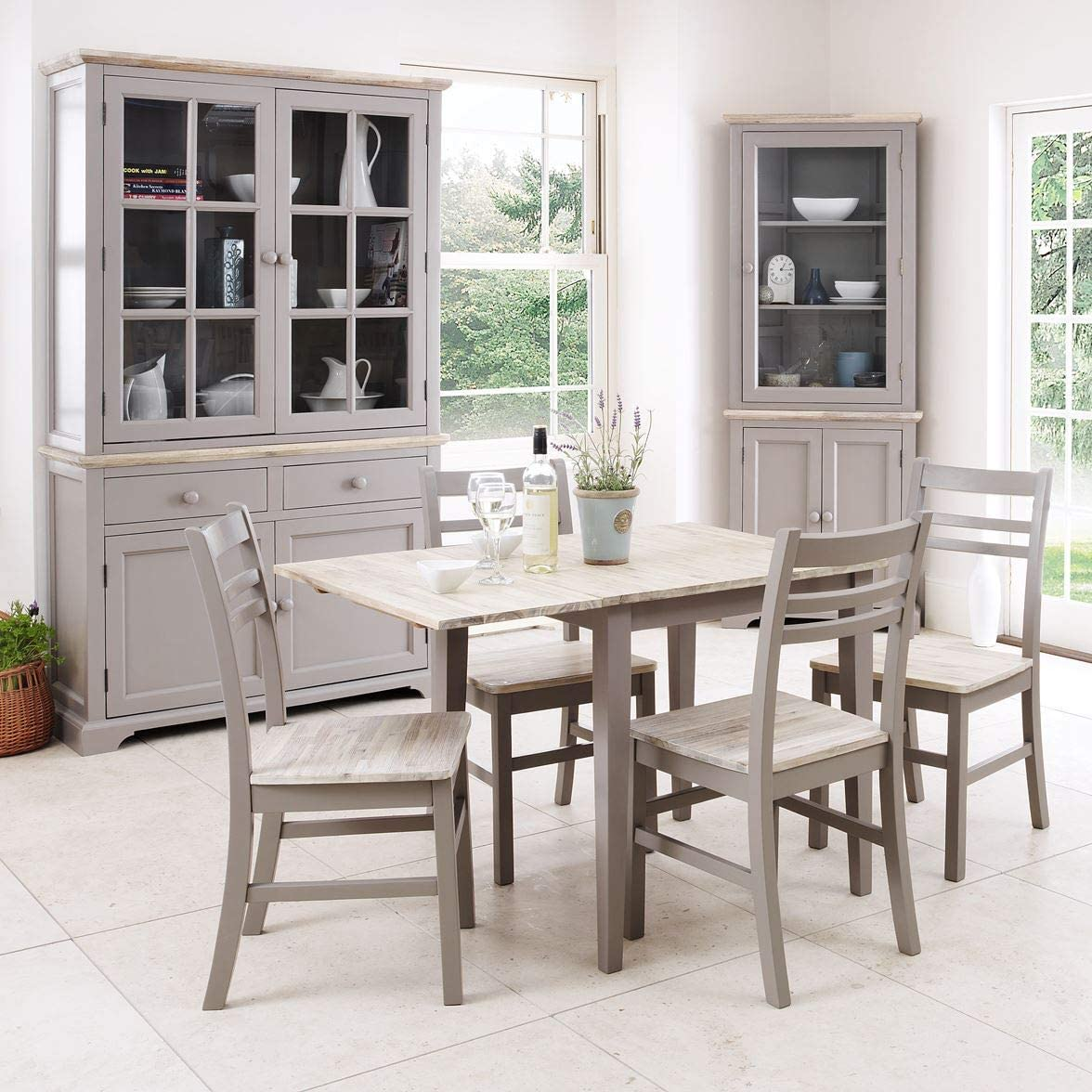 Florence dove grey square extending table and 10 country style