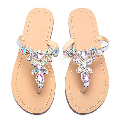 azmodo Women's Jeweled Hand Crafted Crystal Flip Flops Rhinestones Flats Sandals Y22 | Flip-Flops
