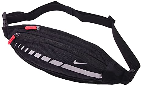 b2a7090e26 Image Unavailable. Image not available for. Color: NIKE Running Bag Slim Waist  Pack Black/Silver ...