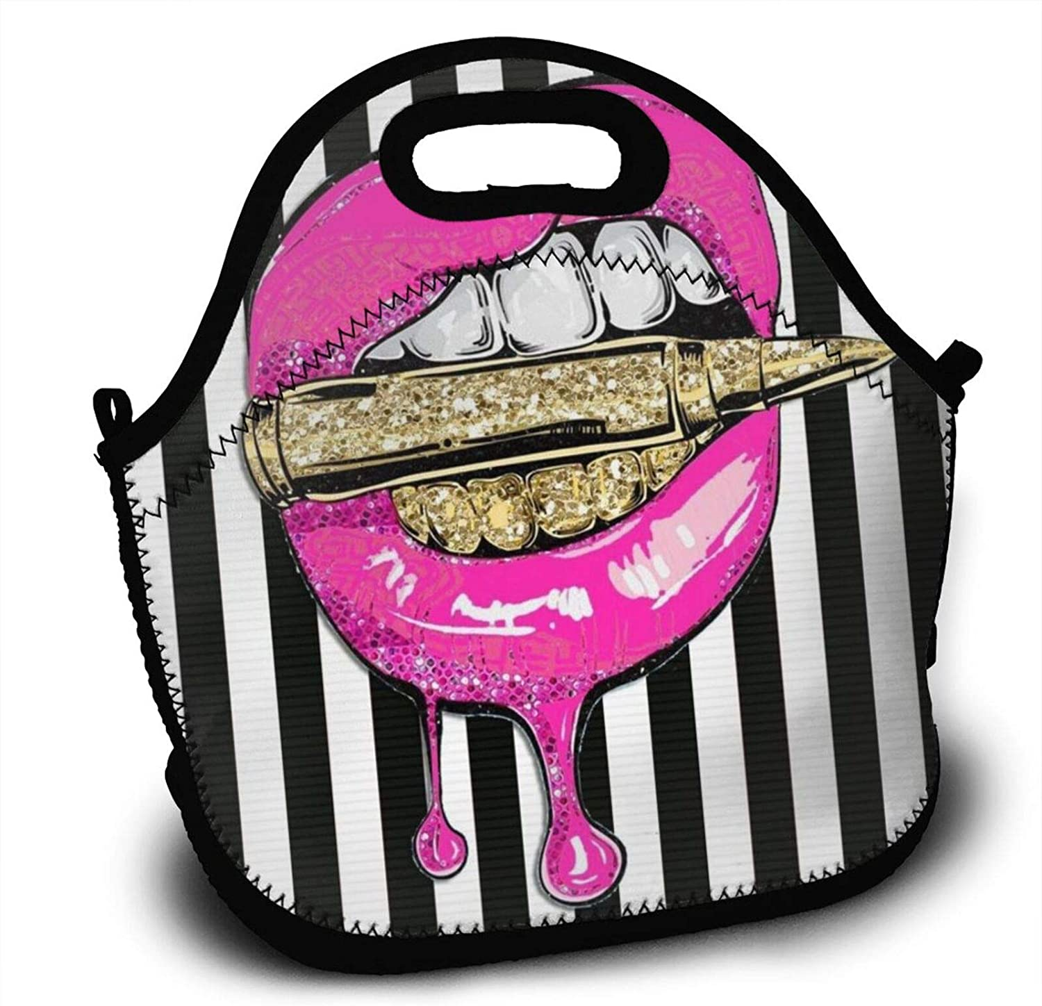 Pink Lips With Bullet Printed Lunch Bag,Handbag Bags For Women Picnic Thermal Carrying Gourmet Food Container Organizer,Reusable Insulated Lunch Box