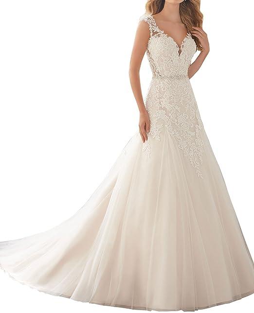 c0e05476f4cf Changjie Donna 2018 V-Neck pizzo applique Vestito da Sposa Donna Abito da  sposa Matrimonio Elegante  Amazon.it  Abbigliamento