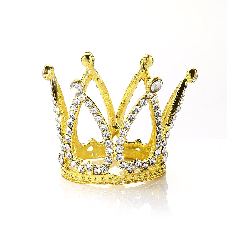 Round Mini Rhinestone Crown Pearl Crystal Princess Crown Bridal Wedding Newborn Baby Crown Silver Unbrand