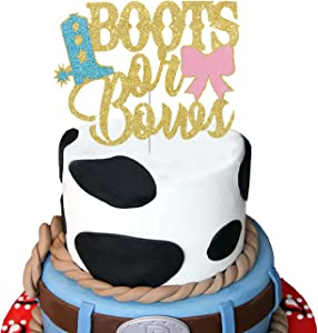Boots or Bows Cake Topper,Glitter Gender Reveal Baby Shower Party Decorations for Photo Booth Props, He or She Boy or Girl Cake Decor