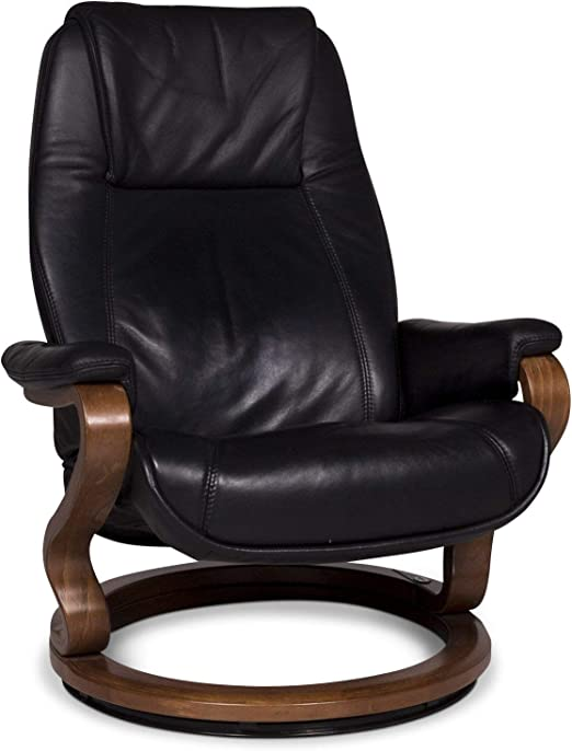 Himolla Leather Armchair Black Wood Relax Function Sanaa