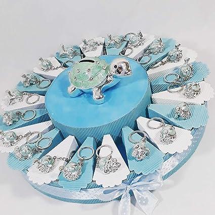 Tarta con recuerdos de nacimiento bautizo cumpleaños con llaveros con forma de ...