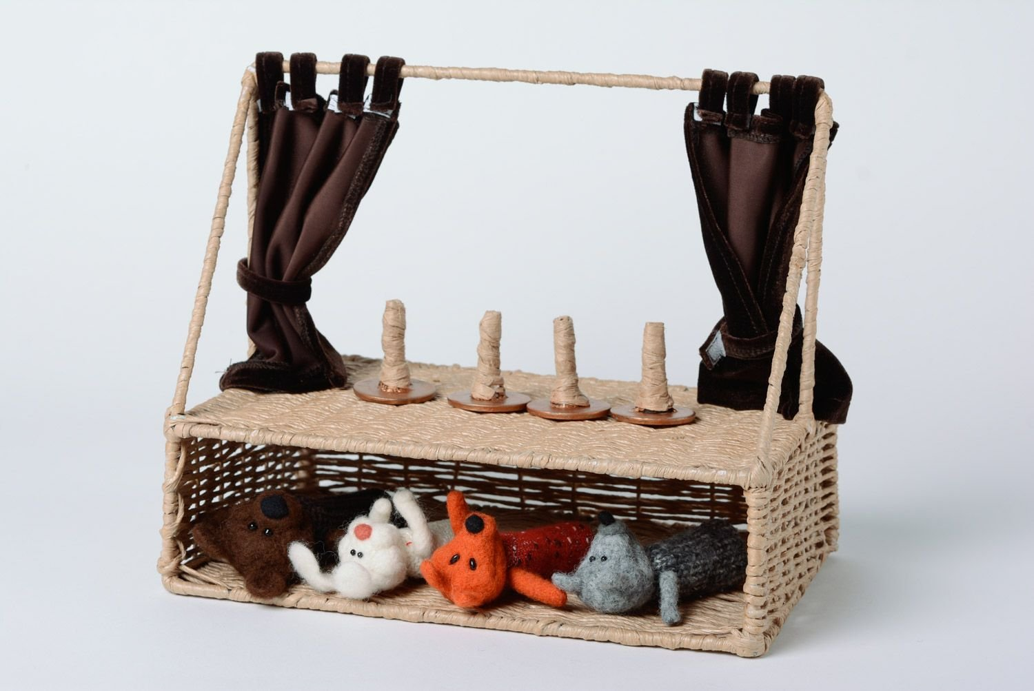 Set Of Handmade Scenery For Puppet Theater 1 Folding Screen And 4 Holders by MadeHeart | Buy handmade goods (Image #4)