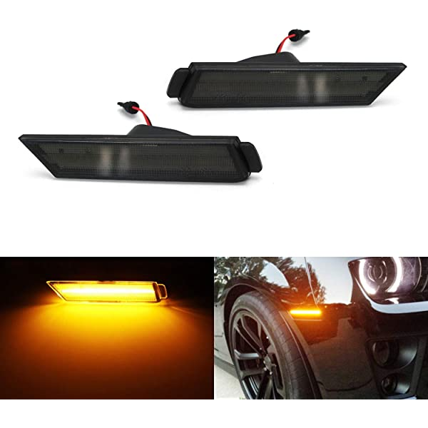 Red LED Rear Side Marker PGONE 2010-2015 Chevy Camaro Side Markers Powered Smoked Lens Front Side Marker Lamps Amber LED Light by 27 Red SMD LED Lights 12V