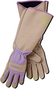 Magid Glove & Safety Professional Rose Pruning Thornproof Gardening Gloves with Extra Long Forearm Protection for Women - Puncture Resistant, 8/Medium (6 Pair), Tan & Purple, Model Number: BE195TM-6