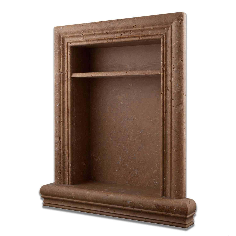 Noce Travertine Hand-Made Honed Shampoo Niche / Shelf With Divider- LARGE