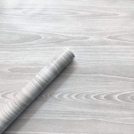 Redodeco Grey Wood Grain Wallpaper Counter Top Adhesive Paper Vinyl Cabinets Wardrobe Paper Drawer Dresser Shelf Liners 17 7inch By 8 2feet