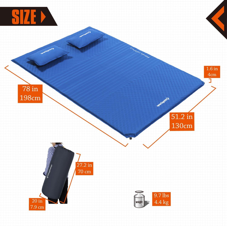 198 /× 130 /× 4 cm Super Komfort f/ür 2 Personen KingCamp Doppel Isomatte Selbstaufblasbare Campingmatratze mit 2 Selbstaufblasenden Kissen f/ür Camping Outdoor