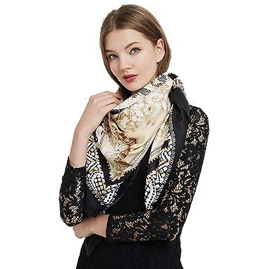 f0d5886f0 GUGUGAGA Womens Extra Large Scarf 100% Twilled Silk Square Scarf Blanket Scarf  Shawl Wraps 51x51