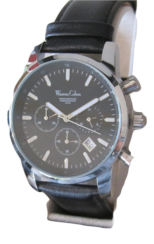 Warren Cohen Azure Herren Business Armbanduhr Chronograph Lederband Schwarz in Box