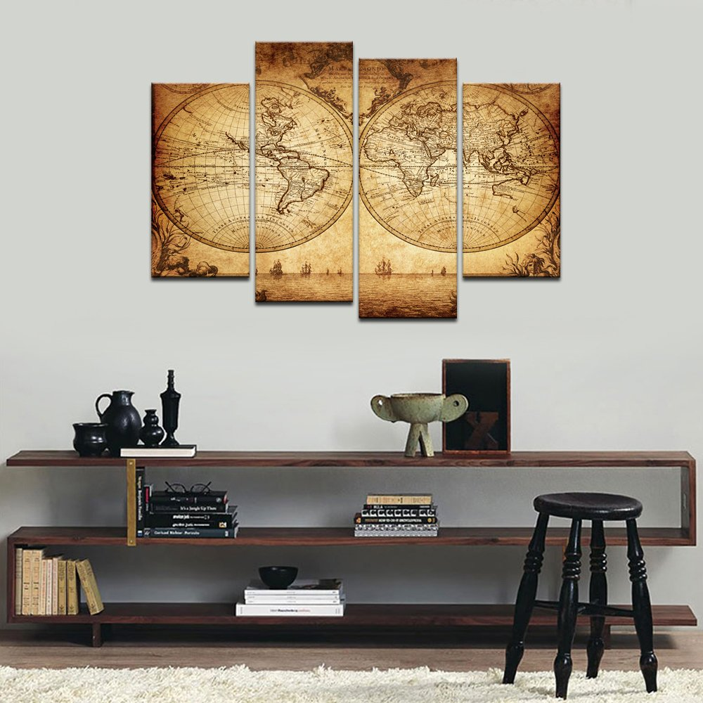Sea Charm - Canvas Wall Art Panels Vintage World Map Painting Framed - 4 Pieces Canvas Art Retro Antiquated Map of the World Painting Abstract Picture Artwork for Home Office Decor by Sea Charm (Image #3)