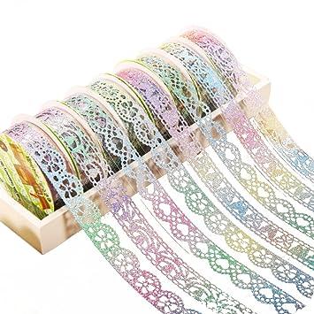 7 rollos cinta adhesiva huifengs flores de encaje diy adhesiva decorativa sticky cinta adhesiva para portátil de Recortes DIY Decoración para el hogar: ...