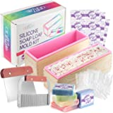 Craftzee 2pcs. Loaf Soap Mold Kit, Rectangular Silicone Mold Set with Stainless Steel Wavy & Straight Cutter Great Soap…