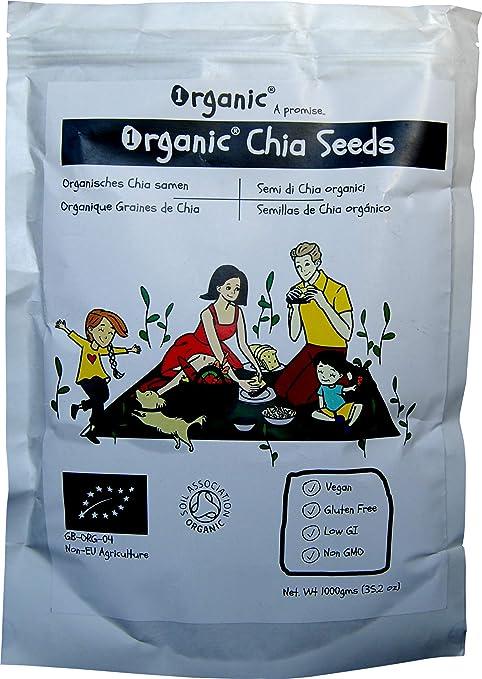 Semillas de Chia Crudo, Certificado 100% ORGÁNICO, Puro, Natural, 1kg