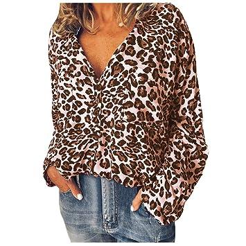 ZODOF Mujer Camisas Moda Leopardo Impresión Manga Larga Tops Camisas Blusa T-Shirt(Caqui,S): Amazon.es: Electrónica