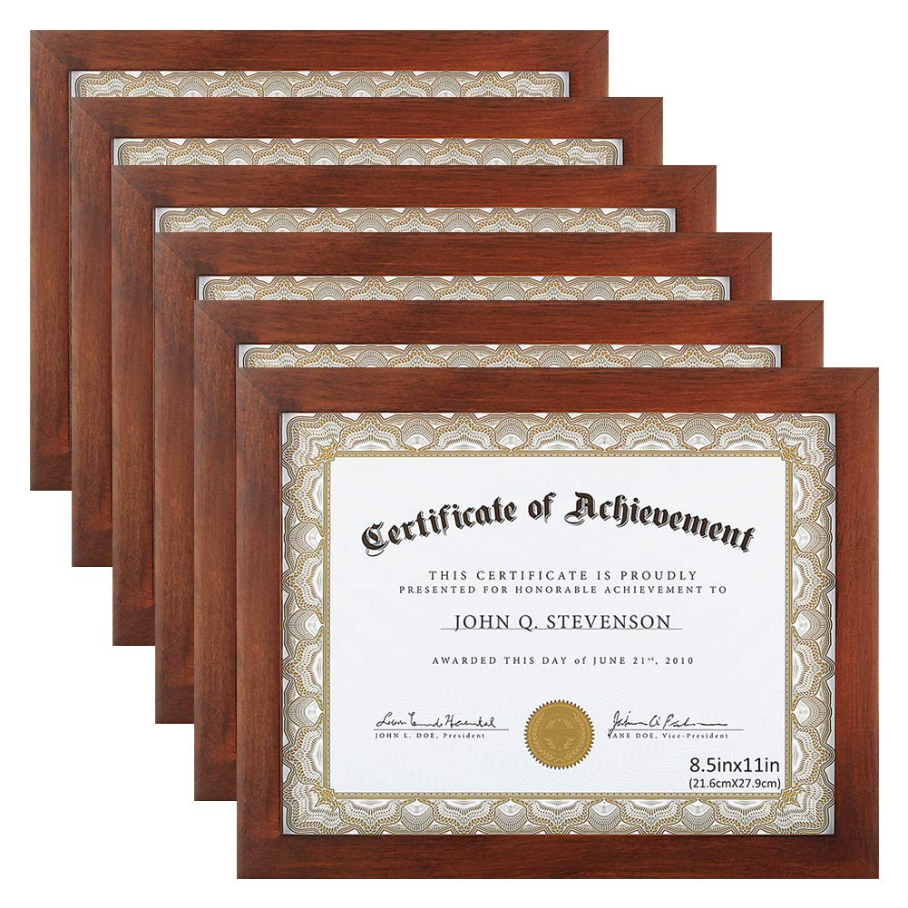 RPJC Document Frame Certificate Frames (6PK) Made of Solid Wood High Definition Glass and Display Certificates 8.5x11 Inch Standard Paper Frame Brown