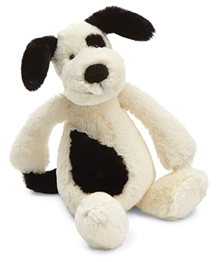 Jellycat Bashful Puppy - Peluche, S, color negro y crema