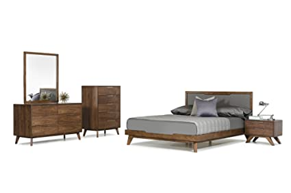 Limari Home LIM-72076 Maurice Collection Mid-Century Style Veneer Finished  Bed with Fabric Headboard, Dresser, Mirror & 2 Nightstands with Stainless  ...