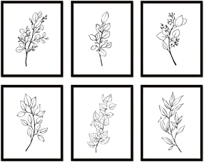 Black and White Leaves Wall Art Print UNFRAMED 8x10, Leaf Line Art Poster for Bedroom, Minimalist Decor, Living room Artwork, Kitchen, Boho Farmhouse Decore…