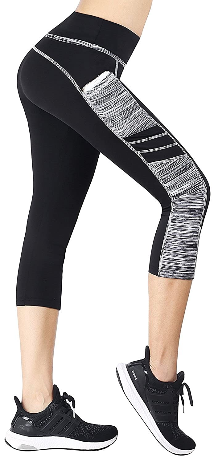 EAST HONG Women's Yoga Leggings Exercise Workout Pants Gym Tights (M, Black/Grey(Capri)) 138-9-M