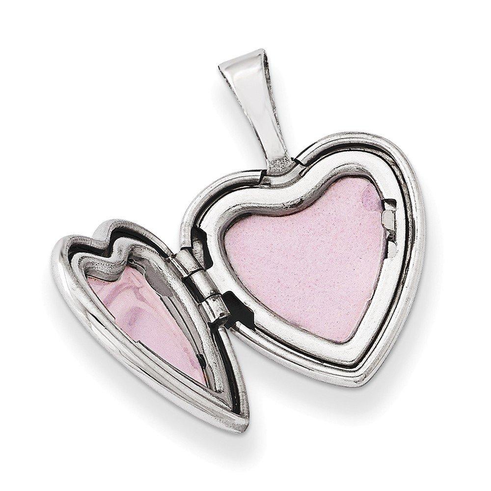 Sonia Jewels Sterling Silver Flower Border 12mm Heart Locket