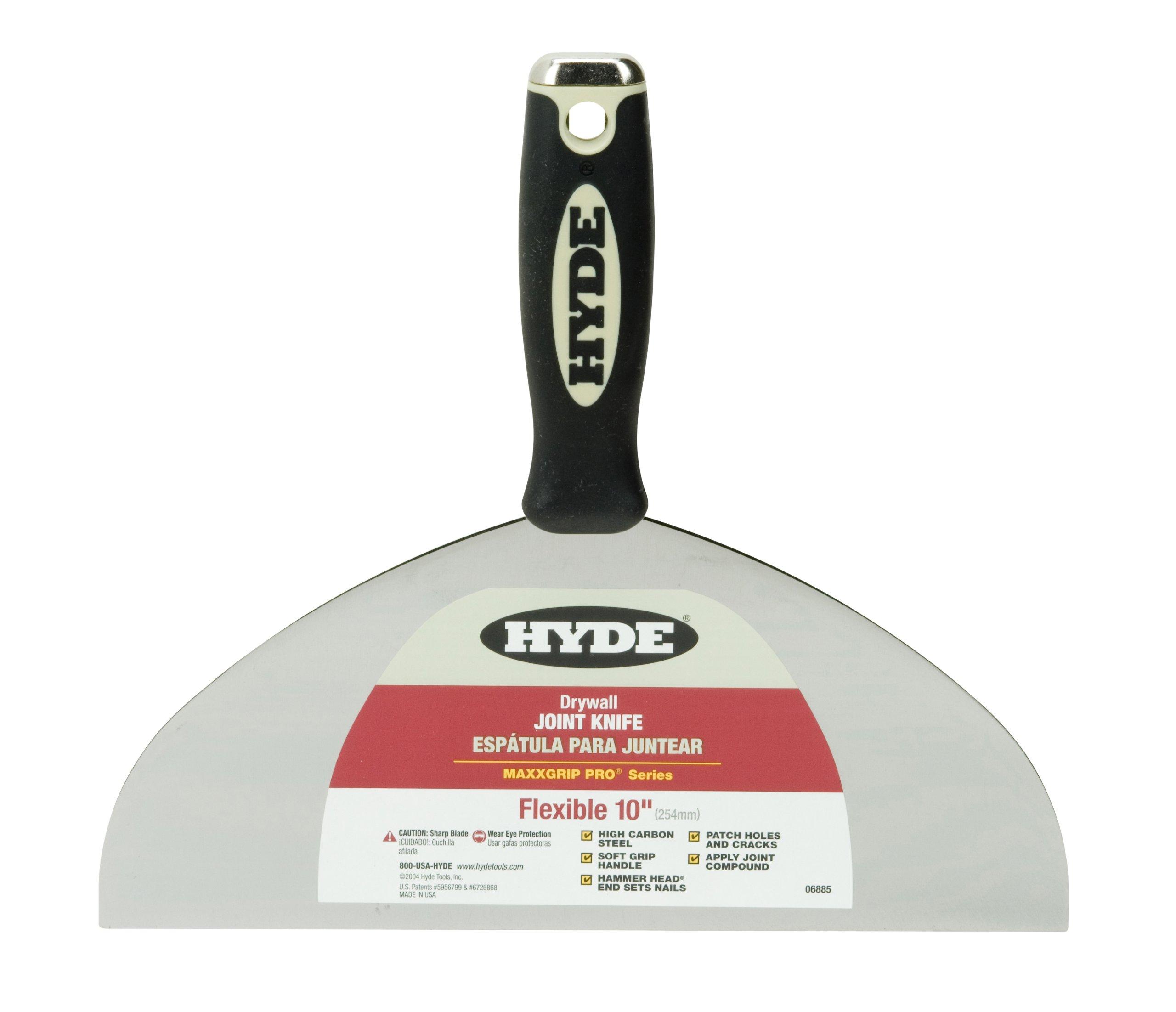 Hyde Tools 06885 MaxxGrip Pro Hammer Head Joint Knife, 10-Inch