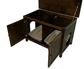 Amazon.com: Double Odor Free Cat Litter Box Cabinet With Hinged Lid. Made  In Usa. Wood, No Assembly Needed. Espresso.: Pet Supplies
