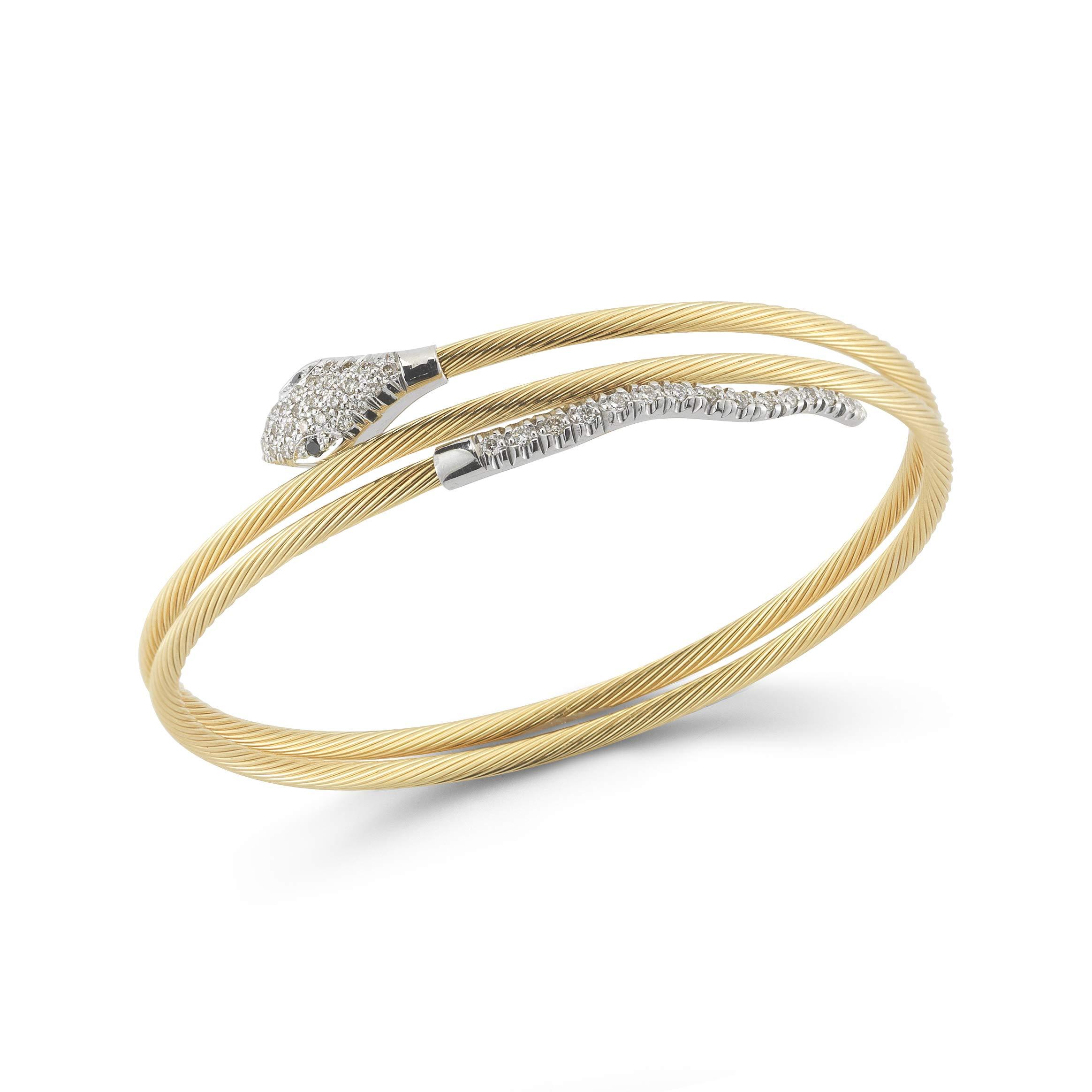 14K White Gold 0.3ct TDW Diamond Serpent Coil Wire Bracelet