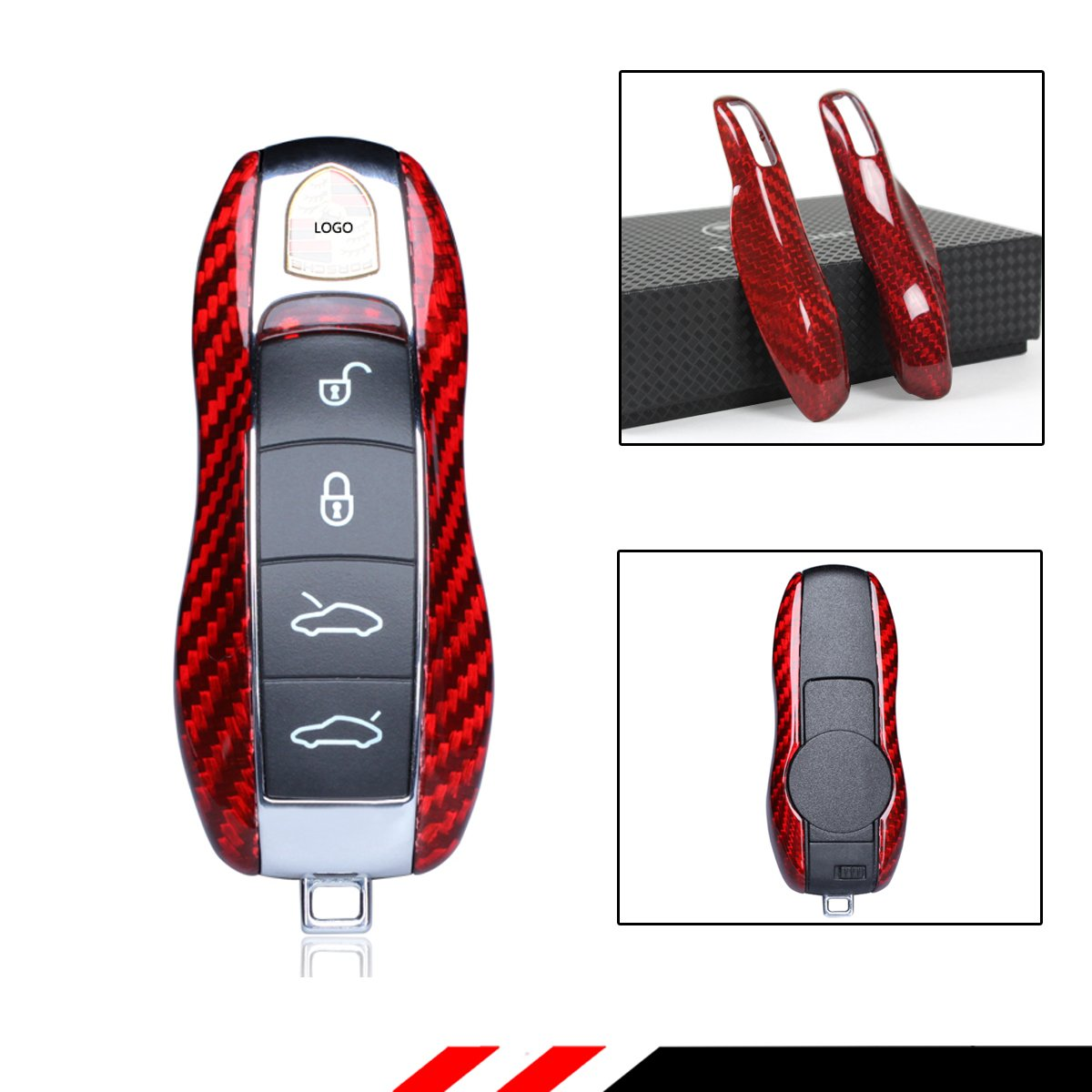 Cuztom Tuning Luxury RED Real Carbon Fiber SNAP ON Replacement CASE for Porsche Key FOB Remote