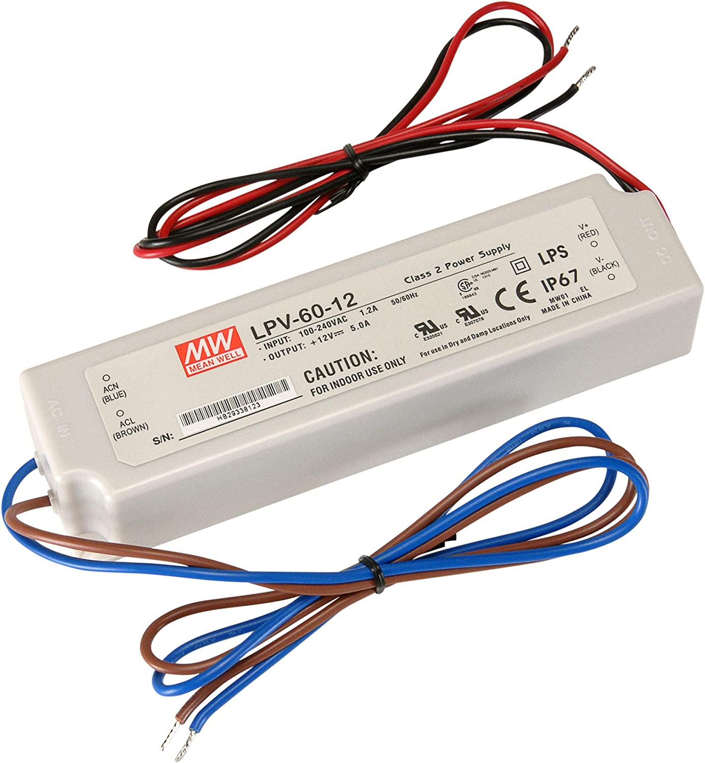 Mean Well LPV-60-12 LED Power Supply 12V 60W IP67 Waterproof Driver Current