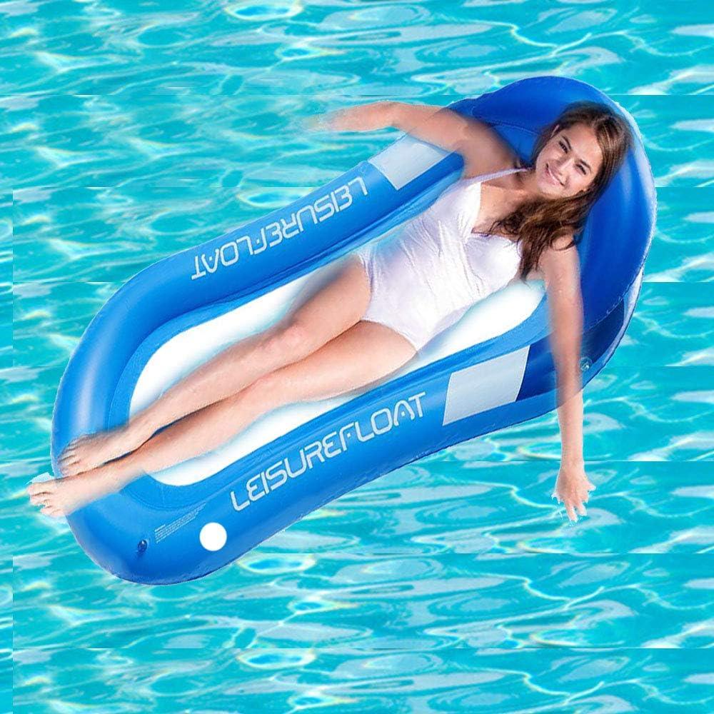 JCT Flotador Inflable Hamaca de Agua Flotante para Piscina,de Malla Tumbona Inflable del Agua Hinchable Colchón de Aire Adultos Niños (Blue, 160X84cm)