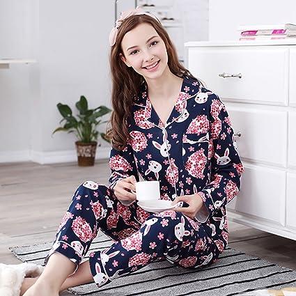 versión coreana de la mujer de los pijamas de algodón de dibujos animados solapa servicio a