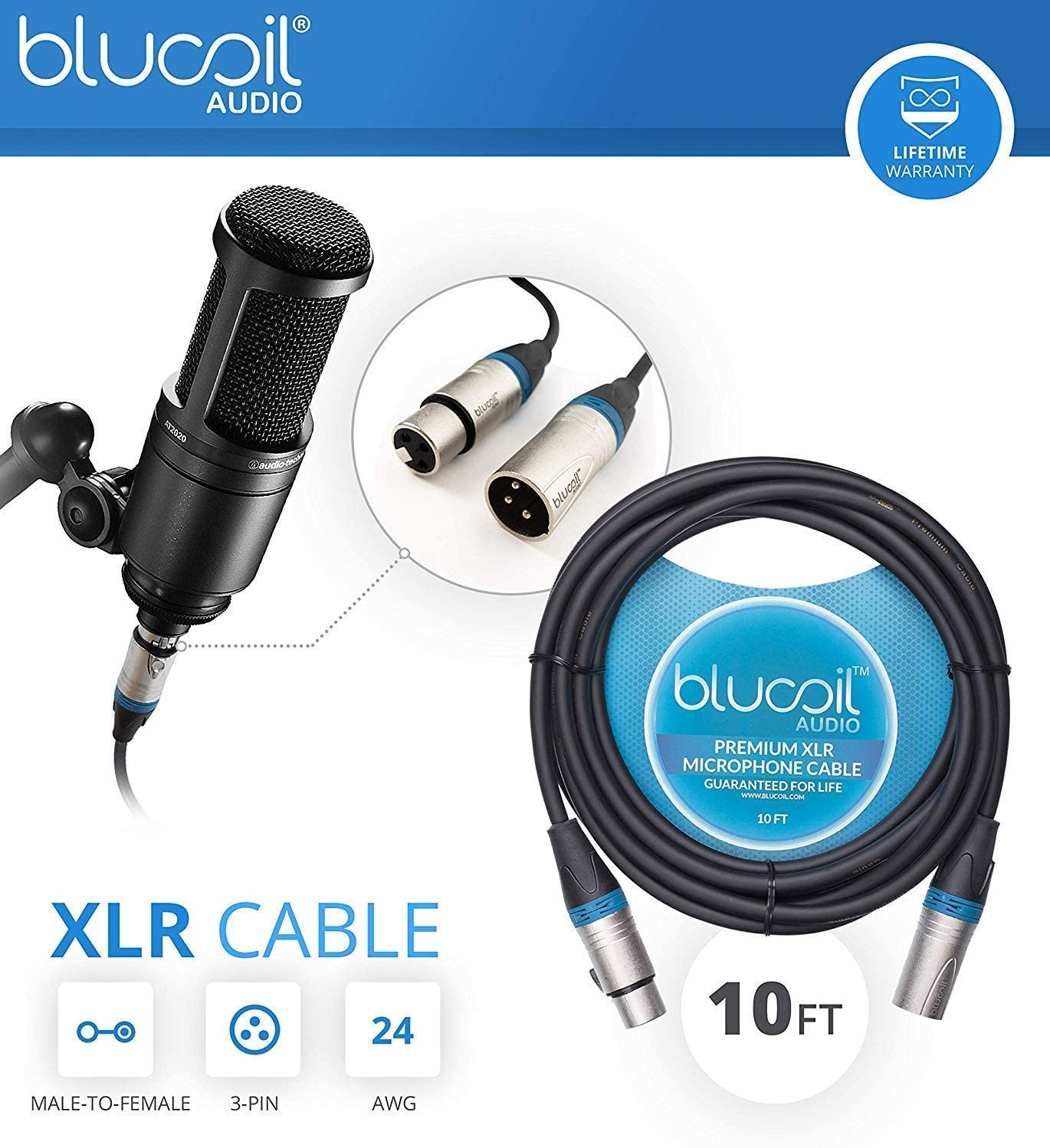 Behringer XENYX 302USB Mixer and USB Audio Interface for Windows and Mac Bundle with AT2020 Cardioid Condenser Microphone Blucoil 10-FT Balanced XLR Cable and Pop Filter Windscreen