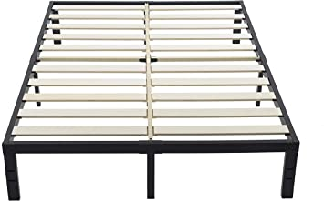 Amazon Com Ziyoo King Size Bed Frame No Box Spring Needed 14 Inch Platform Bed Frame With Solid Wooden Slat For Mattress Foundation Support 3500 Lbs Heavy Easy Assembly Integrated Structure Quiet Noise