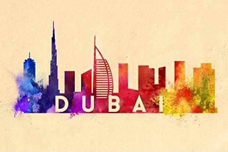 Amazon Com Dubai United Arab Emirates Skyline Abstract 9x12 Fine Art Print Home Wall Decor Artwork Poster Posters Prints