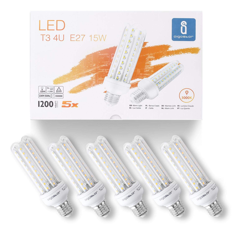 Aigostar - Bombilla LED B5 T3 4U, E27, 15 W equivalente a 120 W, Luz Cálida 3000K, 1200 lúmenes, no regulable -Caja de 5 unidades [Clase de eficiencia ...