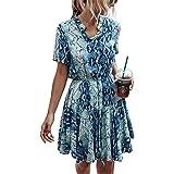 KIRUNDO 2021 Women's Summer Plaid Stripes Snake Mini Dress Short Sleeves Button Down High Waist A Lined Dress with Belt