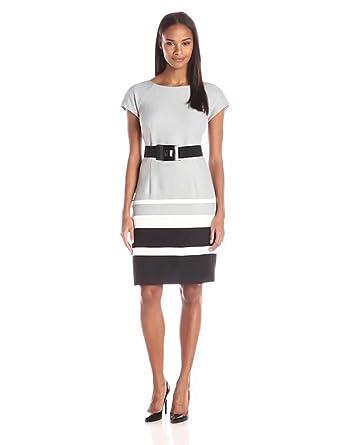 f385f272f70 Sandra Darren Women s Cap Sleeve Color Block Dress with Belt
