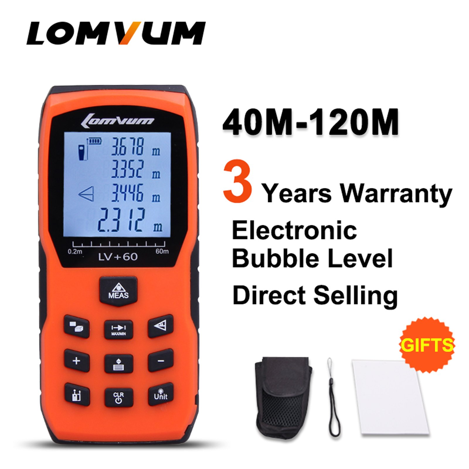 165ft Laser Measure - LOMVUM Laser Distance Measure with Non Mute Function Large LCD Backlight Display Measure Distance,Area and Volume,Pythagorean Mode Battery Included
