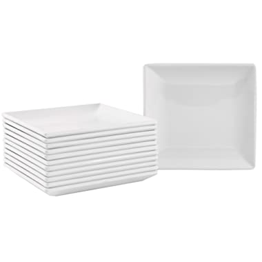 Small Square Melamine Appetizer Plates with Flared Edges and Pan Scraper, 4.25 inches, Set of 12, White …