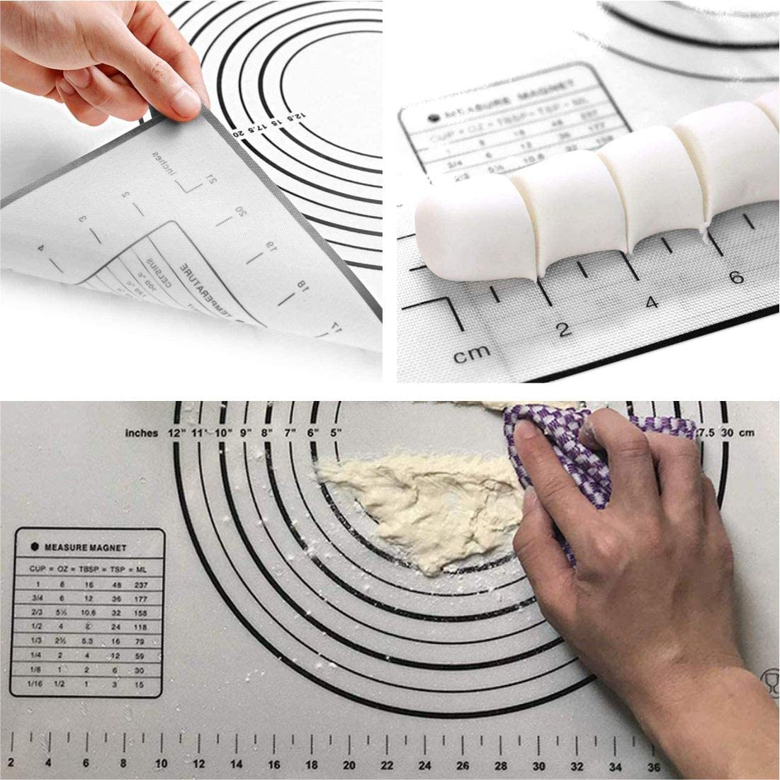 24 in Covotna Silicone Pastry Mat and Rolling Pin Set with Measurements Non-Slip mat for Baking Dough Rolling Mat Cookie Fondant Pastry Pizza Pie 16