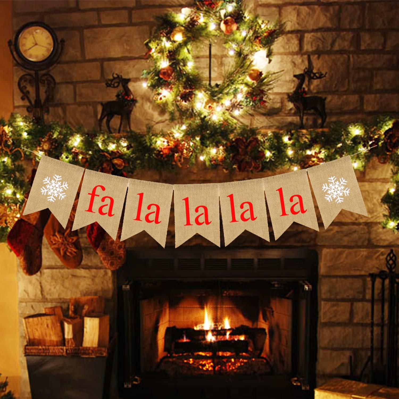 Rainlemon Jute Burlap FA La La La La Banner Christmas Holiday Snowflake Mantel Fireplace Bunting Garland Decoration