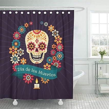 Emvency Shower Curtain 72x72 Inch Home Postcard Decor Print Fabric Colorful Dia De Los Muertos With