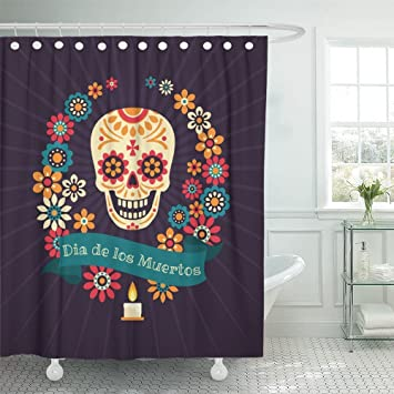 Emvency Shower Curtain 66x72 Inch Home Postcard Decor Print Fabric Colorful Dia De Los Muertos With