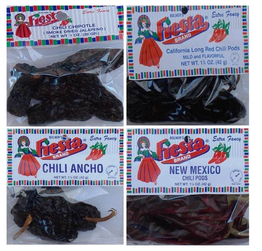 Bolner's Fiesta Extra Fancy Dried Chili Pods 4 Flavor Variety Bundle, (1) each: Ancho, New Mexico, Chipotle, California