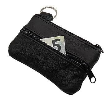 Cuero Estuches de llave 3 compartimentos Made en UE en negro